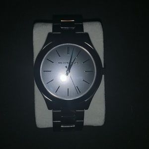 Male Michael Kors Black with Silver Accent Watch
